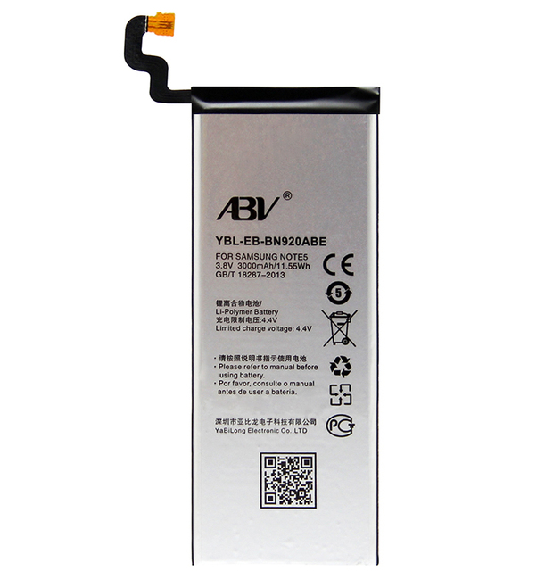 ABV-Brand battery for Samsung Note 5 EB-BN920ABE For Samsung GALAXY Note 5 N9200 N920t Project Noble battery note5