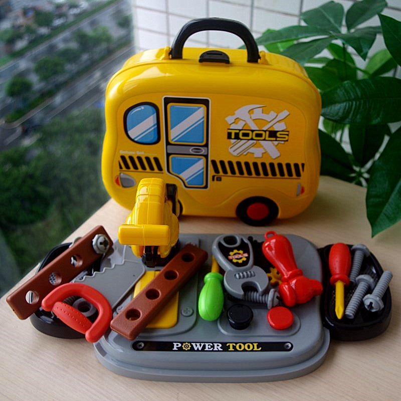 Pretend Play Engineer Repair Tool Toys Doctor Set with Rolling Case Simulation Toy Party Games Kids Novelty Gifts w/Box Package