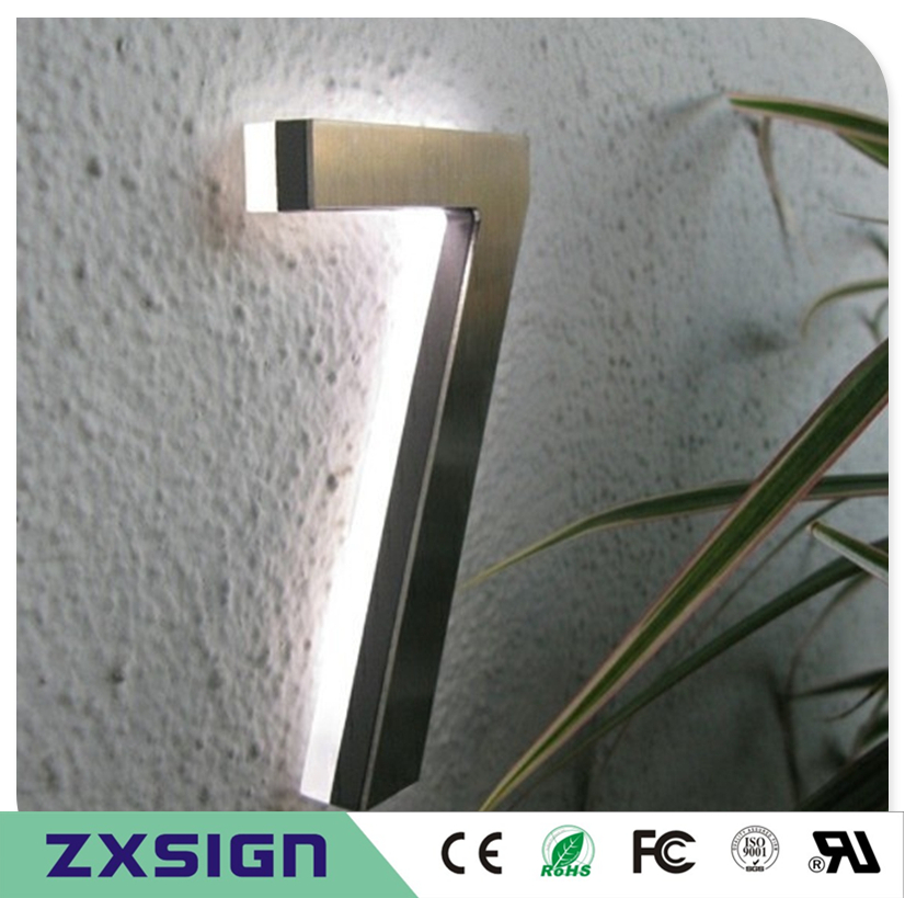5high Back lit Stainless steel LED Home number, 12cm high 3D led doorplate number,led light-up addresshouse numbers