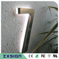 Factory Outlet Back Lit Stainless Steel LED Home Number House Number 3D Led Doorplate Number