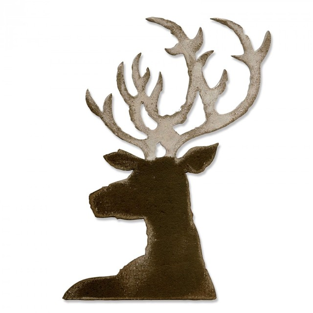 Mcdies Christmas Elk Head Metal Cutting Dies Stencil For Diy