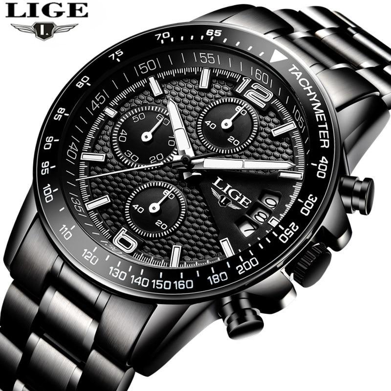 Brand LIGE 2017 new men's watches quartz watch men real three dial luminous waterproof 30M outdoor sports steel watch