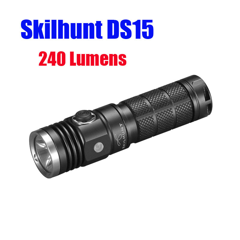 Skilhunt DS15 CREE XM-L2 240 Luems EDC Led flashlight camping Torch compatible with 14500 AA battery 3800 lumens cree xm l t6 5 modes led tactical flashlight torch waterproof lamp torch hunting flash light lantern for camping z93