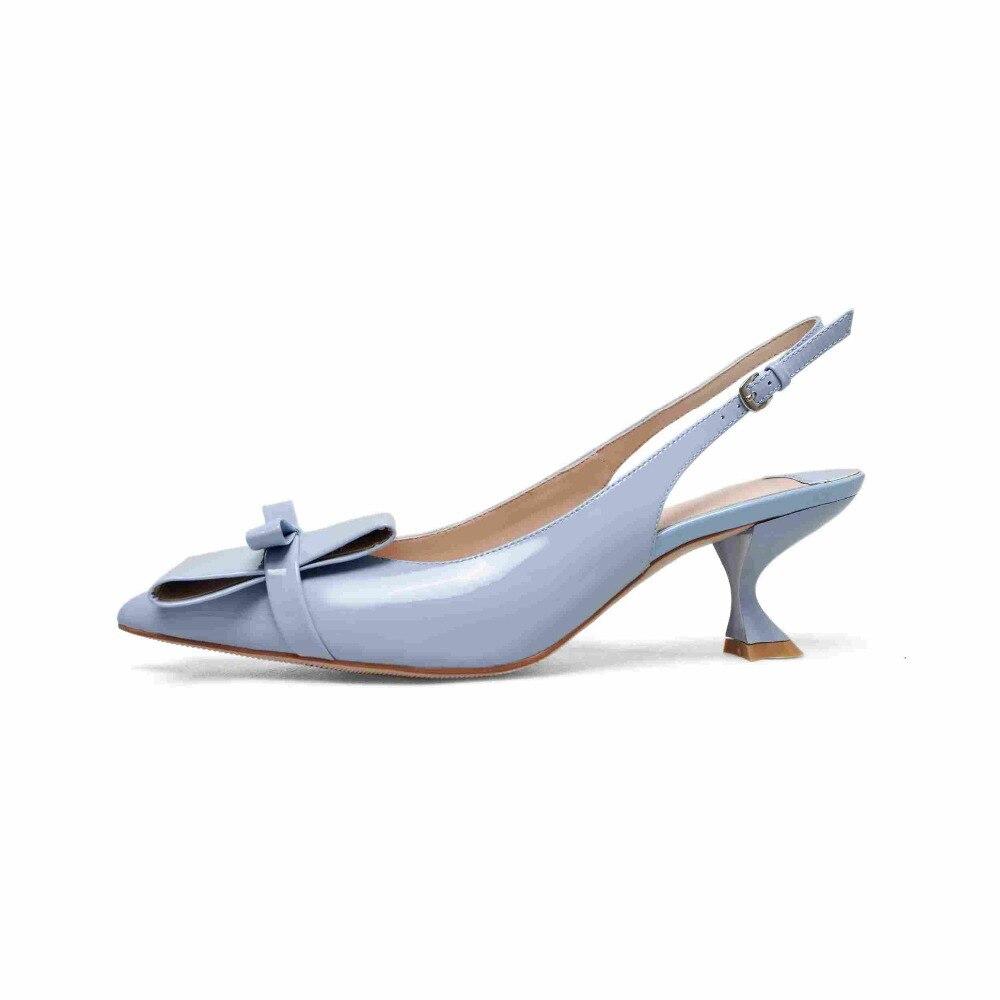 Ayakk.'ten Kadın Pompaları'de KRAZING POT yeni hakiki deri marka ayakkabı garip ince yüksek topuklu kadın pompaları sivri burun papyon dekorasyon prenses ayakkabı L01'da  Grup 3
