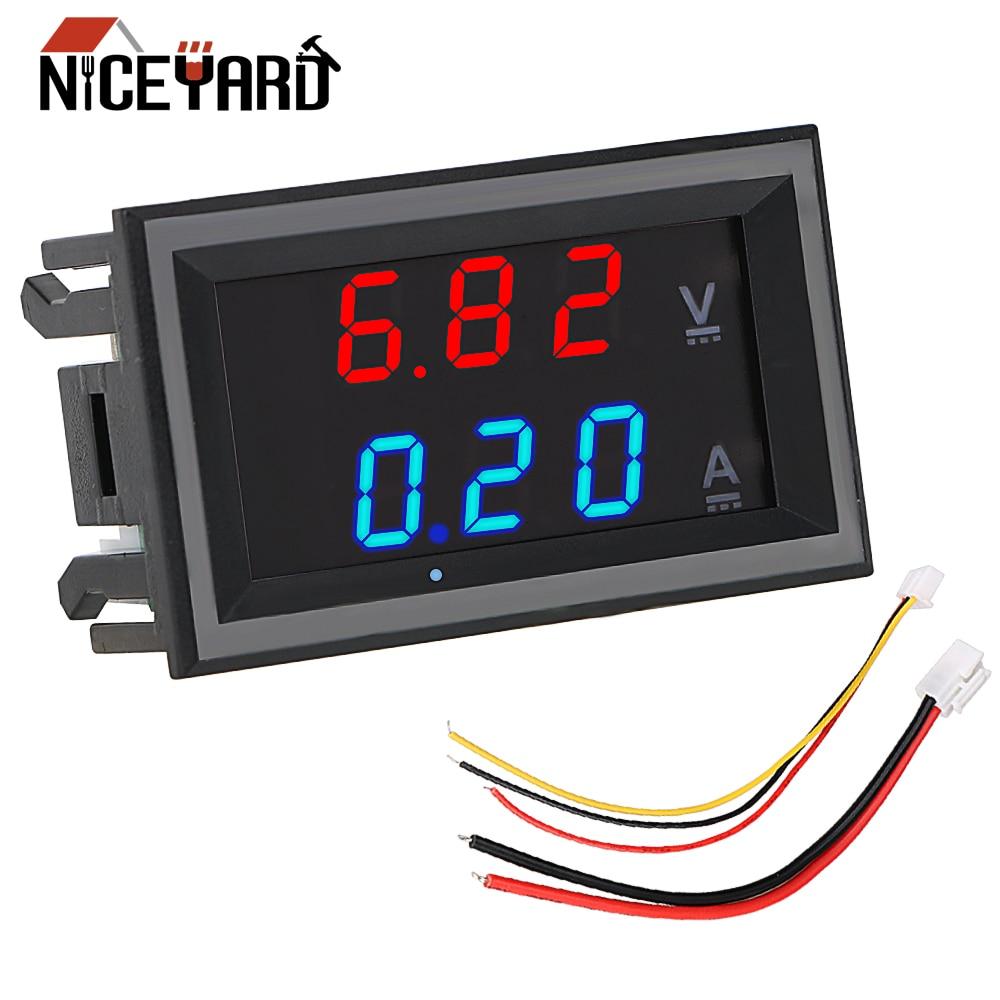 Цифровой мини-вольтметр, амперметр постоянного тока 100 в 10 А, светодиодный дисплей, вольтметр, амперметр, индикатор напряжения, тестер с кабе...