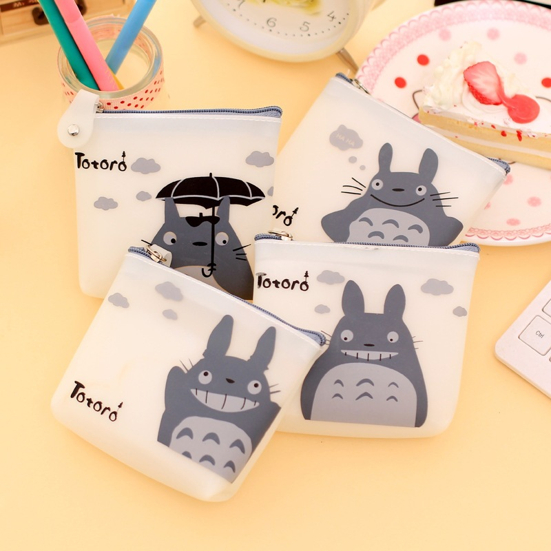 RU&BR 1 Pcs Men & Women Cute Cartoon Coin Purse Wallet My Neighbor Totoro Silicone Jelly Keychain Bag Transparent Card Holder my neighbor totoro draw string coin purses cartoon face mini pocket bags