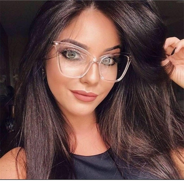 89a0d56ed1 Vazrobe Oversized transparent glasses women cat eye degree 0 women s frame  for optical prescription points vintage female 2018-in Eyewear Frames from  ...