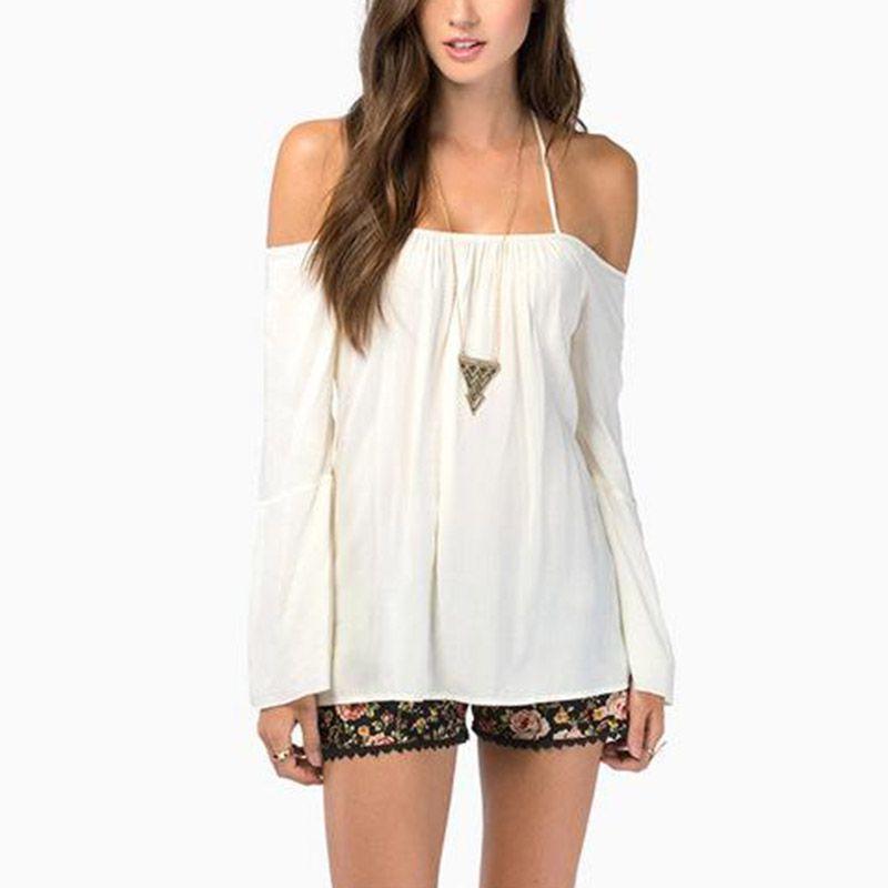 Summer Women's Fashion Sexy Spaghetti Narrow Strap Cross Backless Long Sleeve Shirt Casual Loose Chiffon Blousa Tops AE3150