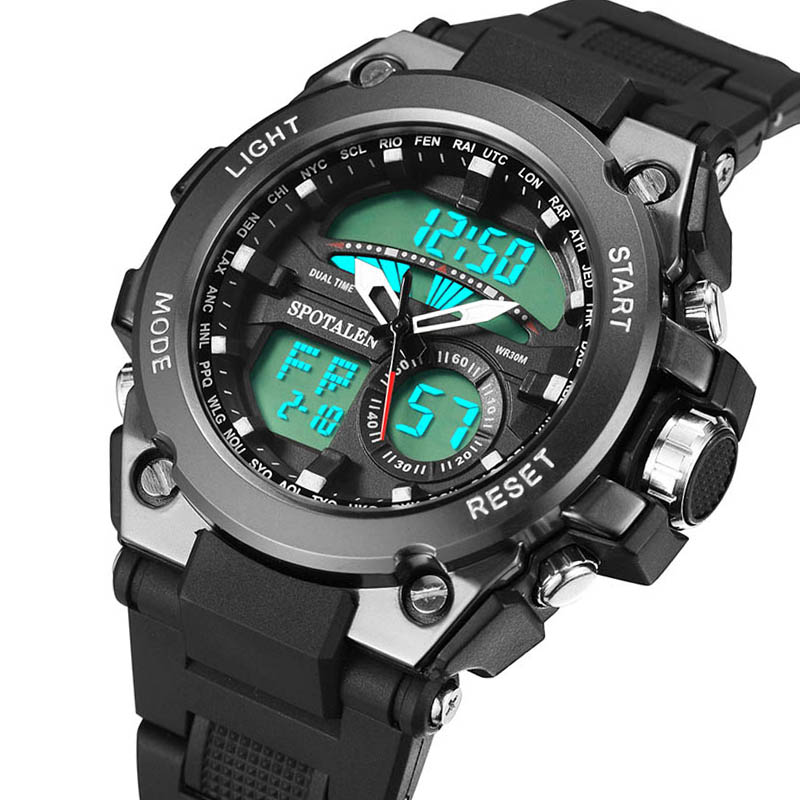 Wasserdicht Datum Led Digital Sport Quarz Analog Mens Military Armbanduhr Sport Elektronische Uhren Herrenuhren Digitale Uhren