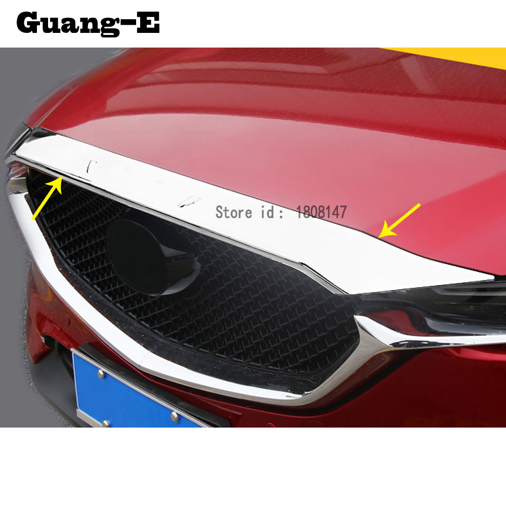 Car garnish ABS Chrome front engine Machine grille upper hood stick lid trim lamp hoods For Mazda CX-5 CX5 2nd Gen 2017 2018 for nissan x trail xtrail t32 rogue 2014 2015 2016 abs chrome front engine machine grille upper hood stick lid trim lamp 1