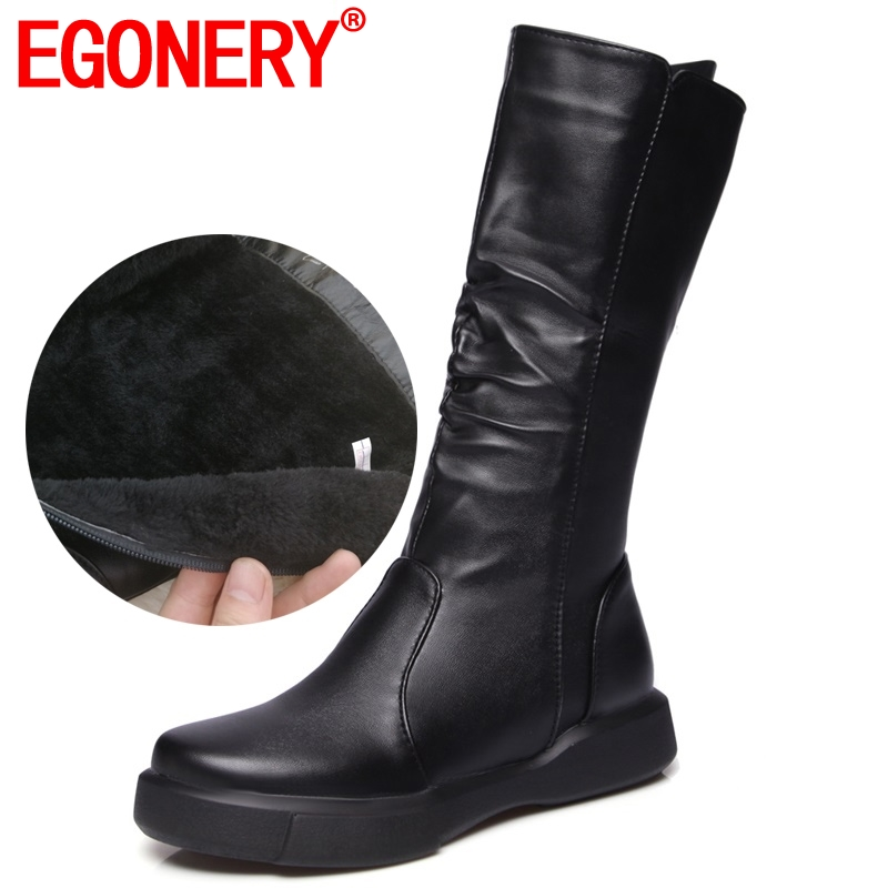 EGONERY Plush Winter Spring Mid Calf Boots Woman Round Toe European Zipper Black White Brand Shoes For Come Women Snow Boots