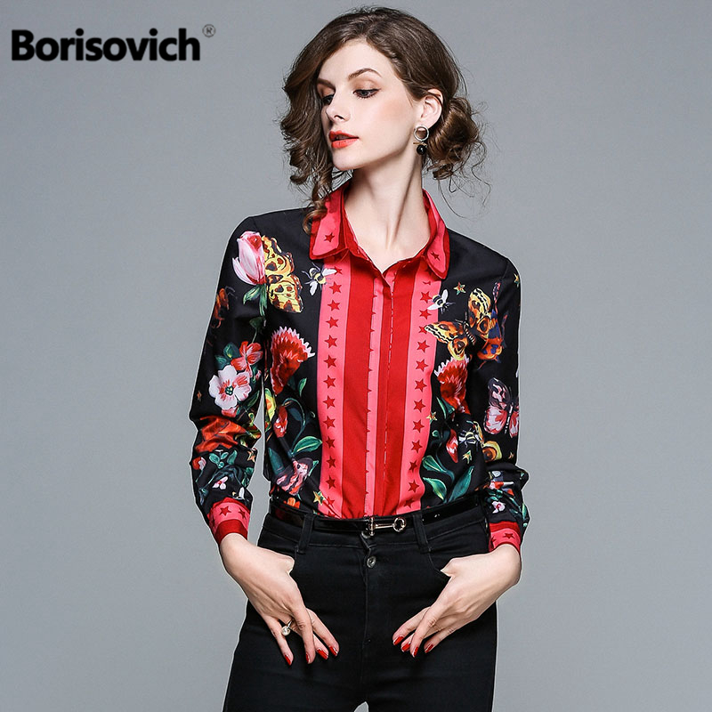 Borisovich High Quality Women Casual   Shirts   New 2018 Fashion Floral Print Turn-down Collar Elegant Ladies   Blouses     Shirts   M487
