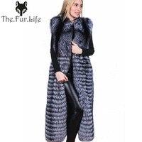 2018 New 100% Real Fox Fur Vest Natural Whole Fox Fur Vest Gilet Women 120cm X long Super Fashion Design Jackets S 8XL