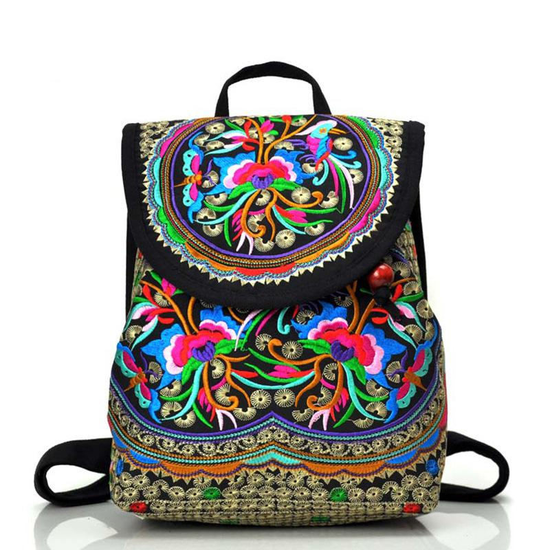 National trend canvas embroidery Ethnic backpack women handmade flower Embroidered Bag Travel schoolbag backpacks mochila ethnic plus size v neck flower embroidered women s blouse