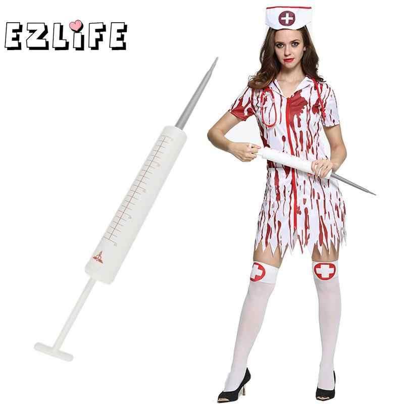 White Giant Syringe Toy Fake Novelty Halloween Syringe Needle Cylinder  Injector Prop for Halloween Costume Doctor Nurse Costume
