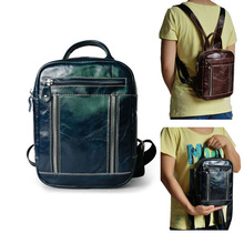 Vintage Mini Size Women Genuine Leather Backpack Oil Wax Cow Back Pack School Tote Bag
