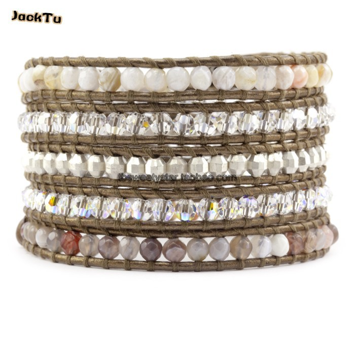 jacktu bostwan beads crystal kansa leather wrap bracelet