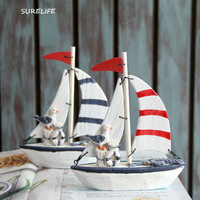 2pcs New Creative Home Furnishing Small Ornaments Mediterranean Style Decoration Wooden Color Boat Sailing Craft Ornaments