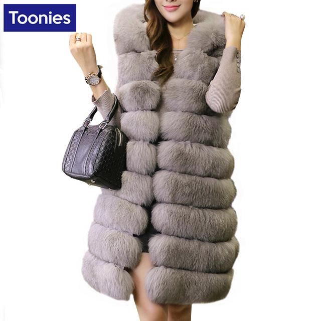 Invierno de la señora de piel de zorro chalecos de mujer femenina abrigo largo de piel falsa chaleco de gilet visón imitación chaleco caliente outwear espesada clothing