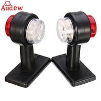 1Pair Red White Truck Trailer Caravan Turn Light LED Double Side Marker Clearance Light Lamp 12V