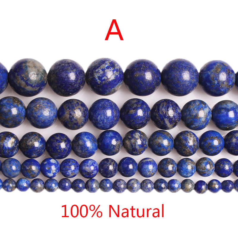 CAMDOE DANLEN 100% Natürliche Lapis Lazuli Runde Perlen 4 6 8 10 12mm Diy Armband Halskette Mode Schmuck Machen weihnachten Geschenk