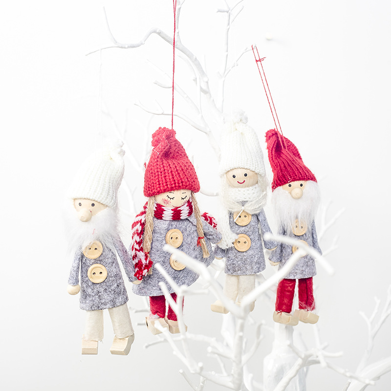 Christmas Girl Boy Pendant Decoration Xmas Wooden Santa Angle Christmas Ornaments Merry Christmas New Year Gifts Party Supplies in Pendant Drop Ornaments from Home Garden