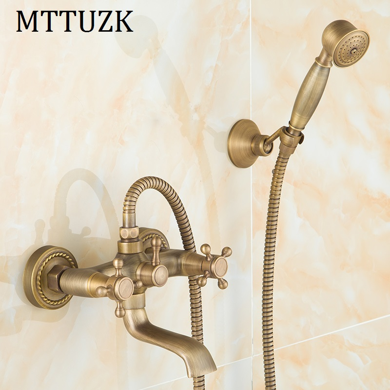 цена на MTTUZK Antique Brass Rainfall Shower Set Hot and Cold Mixer Tap Wall Mounted Double handle Bathtub Faucet With Handheld Shower
