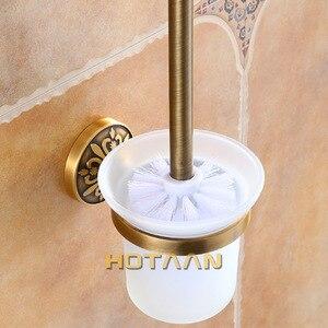 Image 2 - Antike Messing Farbe Wand Montiert Solide Aluminium Anti Rost Wc Pinsel Halter Für Badezimmer Zubehör Set Bad Produkte