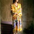 2017 Quimono Roupão Mulheres Vestes de Cetim Da Dama de Honra Do Vintage Impresso Floral Casa Robe Roupão Vestes De Casamento Amarelo # P144