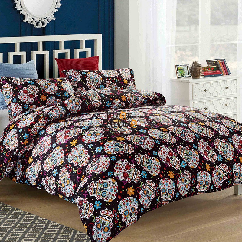 3D Skull dekbedovertrek Halloween Sugar Skull Bedding Set Single Queen King 3PCS Dropshipping