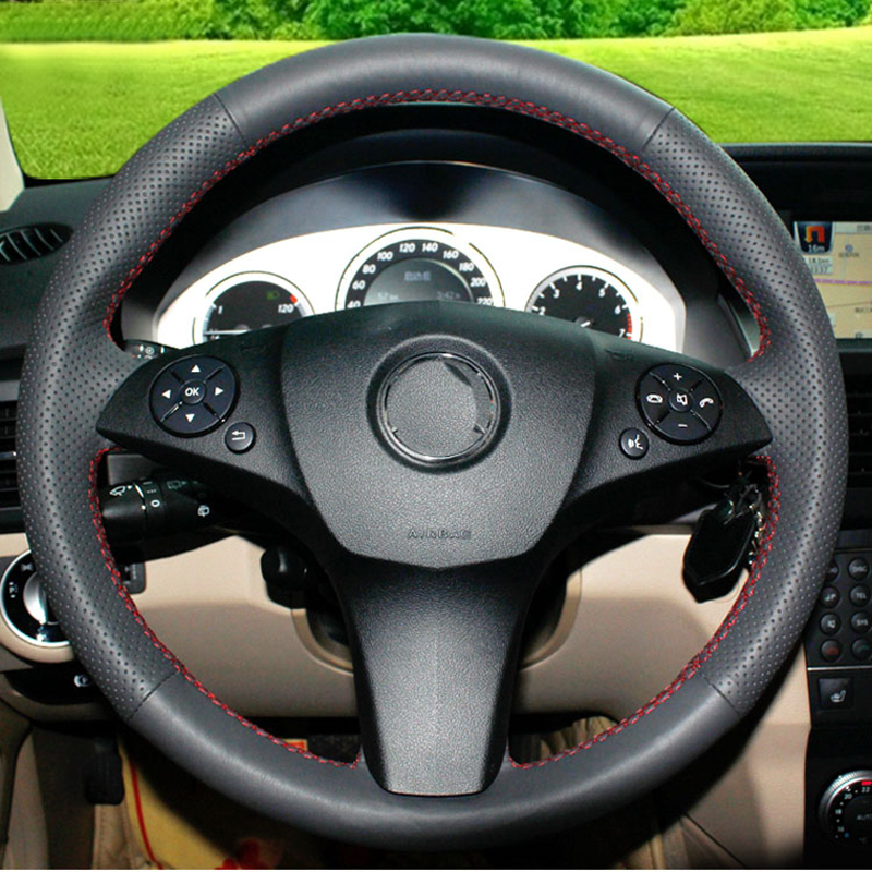 Top Layer Leather handmade Sewing Steering wheel covers For Mercedes-Benz C180 C200 C350 C300 CLS 280 300 350 500 GLK 300