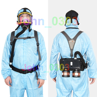 New Electric Supplied Air Fed Full Face Gas Mask Respirator System Two Air Inlet