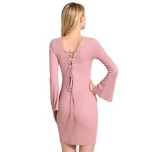 2016 New arrival spring sexy split side long sleeve sweater dress women's pure color slim fit fashion midi dress
