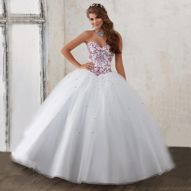 Princesa Balón vestido de Novia Con Cuentas con Cristales Brillantes ...