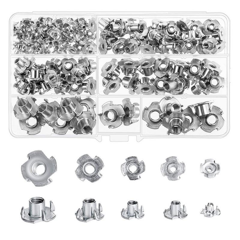 90pcs M3 M4 M5 M6 M8 M10 M12 Four Claws Nut Speaker Nut T-nut Blind Pronged Tee Nut Fastener Hardware For Woodworking Furniture 10pcs m3 round aluminum alloy long nut studs standoffs fastener 8 10 15 20 25 30 35mm