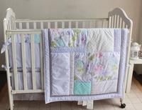 Promotion 4PCS Embroidery Baby Girl Crib Nursery Bedding Set Cot Kit Set Applique Include Bumper Duvet