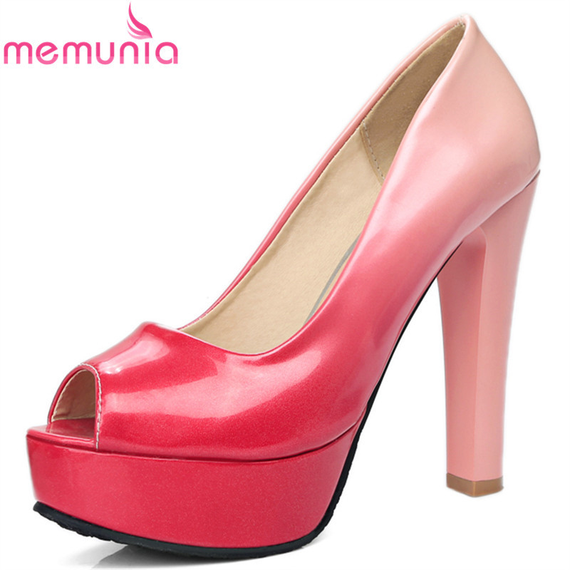 MEMUNIA High heels shoes fashion peep toe women pumps 12cm thick heels Gradient color party wedding platform shoes US size 12