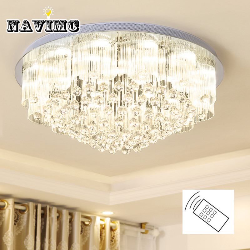 Modern Crystal LED Ceiling light Fixture For Living Room Indoor Round Ceiling Lamp for Bedroom Remote control 3 colors