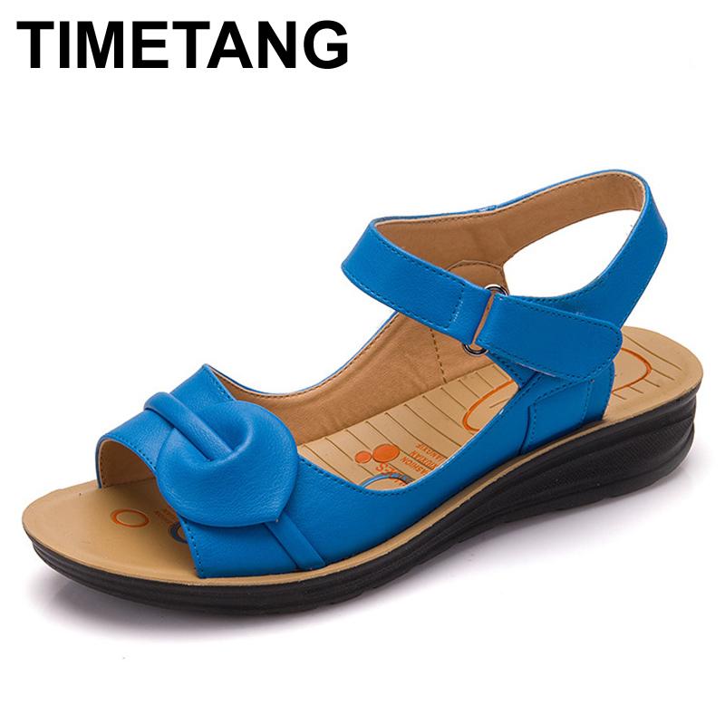 TIMETANG Summer Women Genuine Leather Sandals Vintage Ladies Flat Sandials Ankle Strap Fashion Casual Platforms Soft Shoes lucyever women vintage square toe flat summer sandals flock buckle casual shoes comfort ankle strap women footwear mujer zapatos