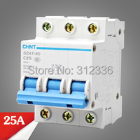 Free Shipping 2 years Warranty DZ47 60 C25 3P 25A 3 pole domestic C type small air switch unipolar Electric shock protection