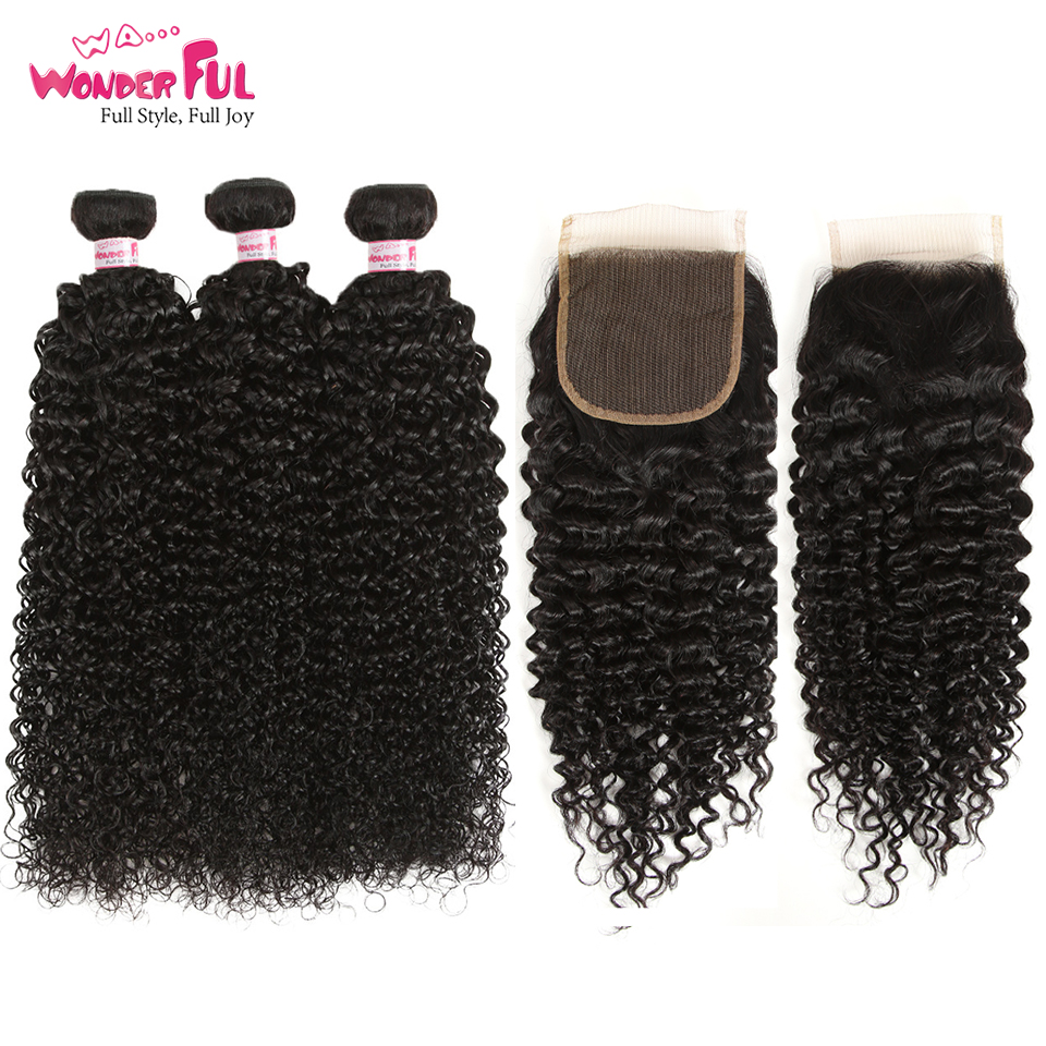 Indian Kinky Curly Bundles With Closure Non Remy 3 Bundles With Closure 100 Kinky Curly Lace