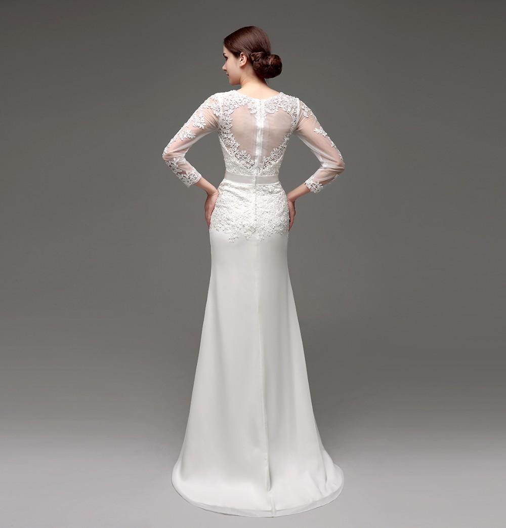 Long Sleeve Sheath Lace Appliqued Bridal Dress 3