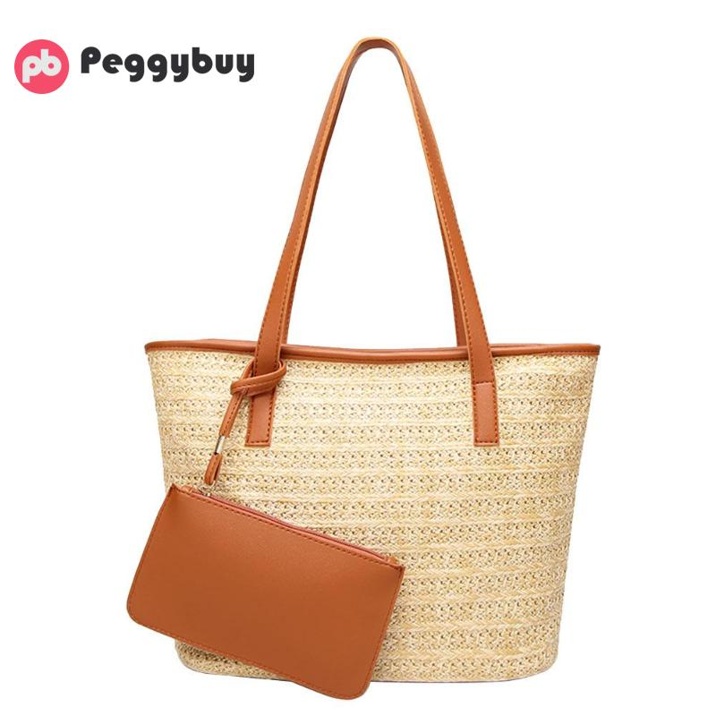 2Pcs Shoulder Bags Beach Straw Weaving Totes Handbags Clutch Bucket Bags Zipper Simple Large Pouch