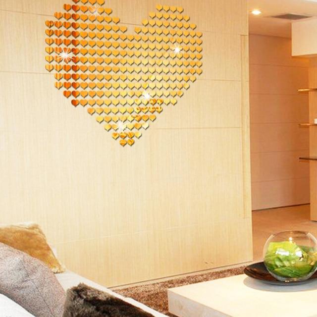 100pcs 3D Heart Wall Sticker Self Adhensive Wall Stickers Acrylic ...