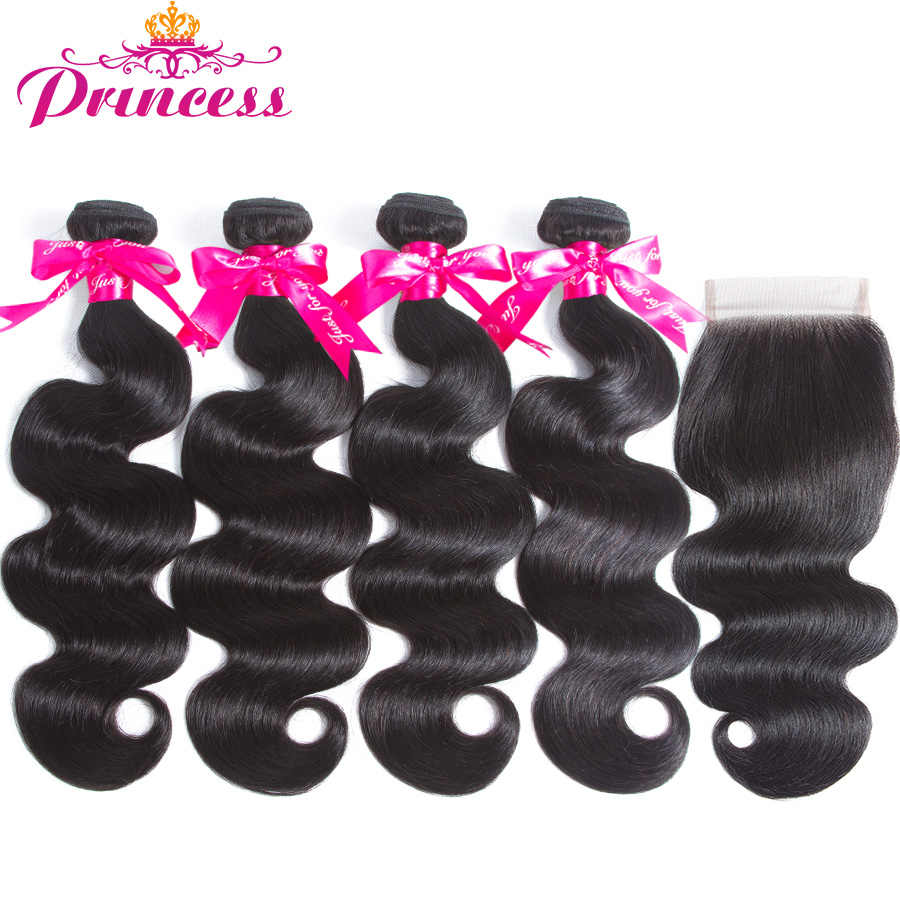 Beautiful Princess Human Hair Bundles With Closure Free Part Body Wave Brazilian Hair Weave 4 Bundles With Lace Closure Remy
