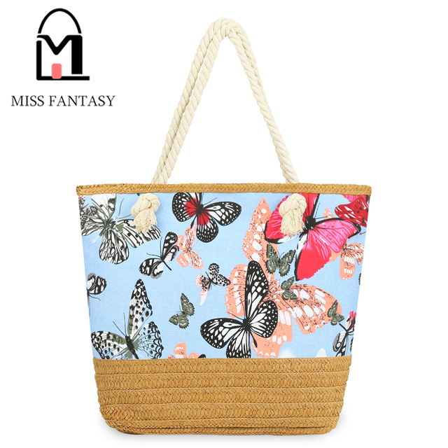 31129c5a4e4d Women's Handbag 2017 Fashion Butterfly Beach Bag Bolsos Mujer Woman  Shoulder Large Straw Bags Neverfull Bags Ladies Canvas Tote