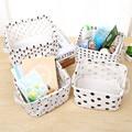 Simple Style Linen Desk Storage Basket Sundries Jewelry Storage Box Holder Cosmetic Stationery Black White Organizer Case