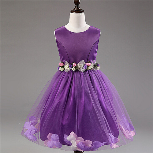Vestido de la princesa sofía party Girls dress envío gratis nueva ropa arco Floral de algodón vestido de bola sin mangas de los bebés