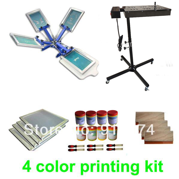 FAST FREE shipping 4 color silk screen printing kit flash dryer plastisol ink t-shirt printer stretched frame squeegee free shipping discount cheap 2 pcs silk screen printing squeegee 24cm 33cm 9 4 13inch ink scaper tools materials