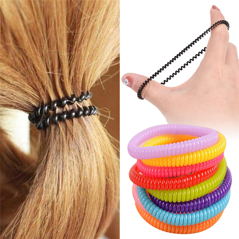 10 pcs/pack New High elastic Candy colored telephone line hair ring Accessories horsetail rope spring rubber band headwear